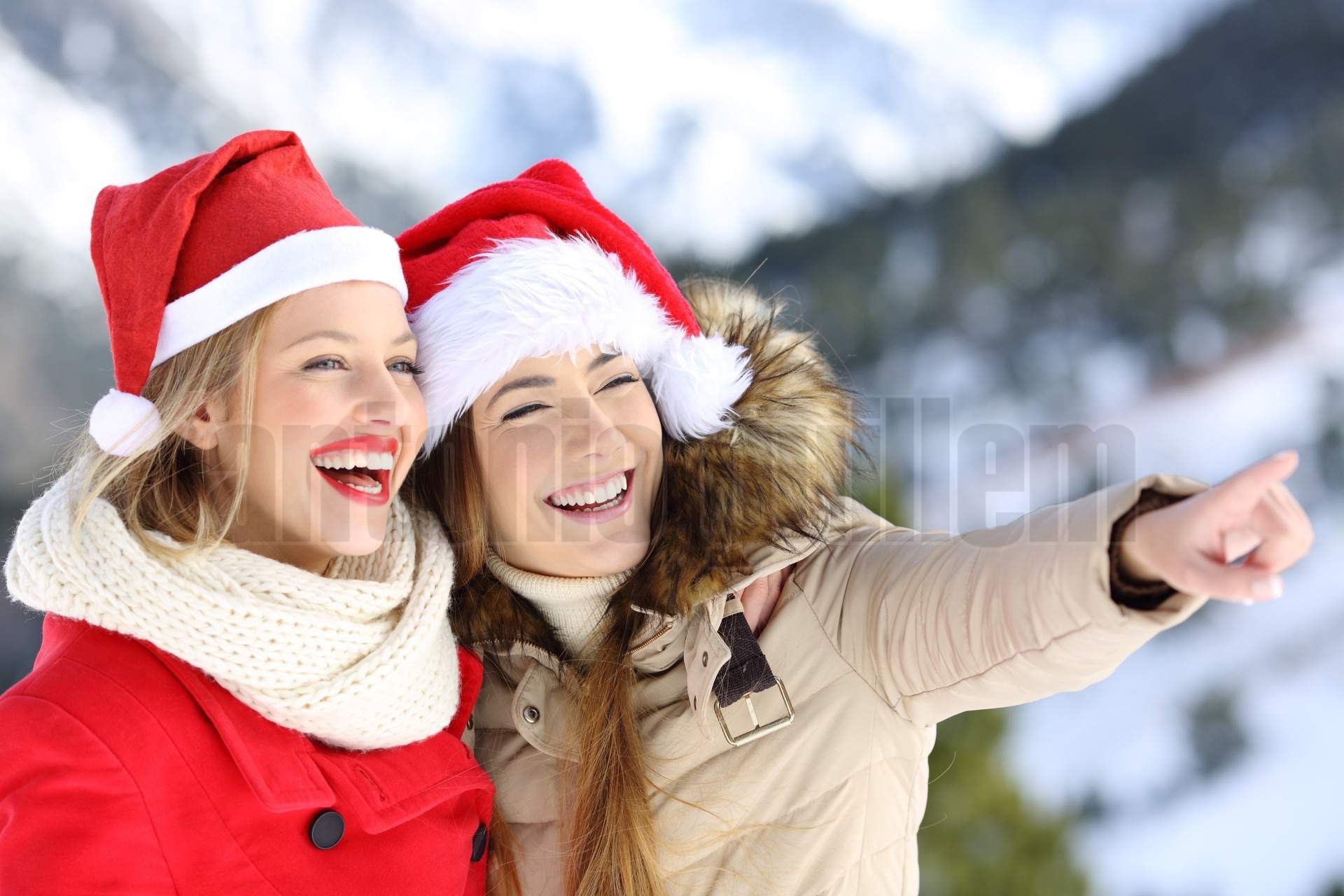 Happy friends on christmas holidays sightseeing